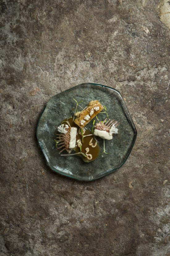'Conejo con Coliflor Confitada y Espardeñas', por Andreu Genestra. Fuente de la imagen: Mikel Ponce. Montagud Editores.
